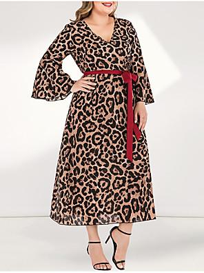 cheap Plus Size Dresses-Women's Plus Size Maxi A Line Dress - Long Sleeve Leopard Pleated Patchwork V Neck Casual Daily Flare Cuff Sleeve Belt Not Included Yellow L XL XXL XXXL XXXXL