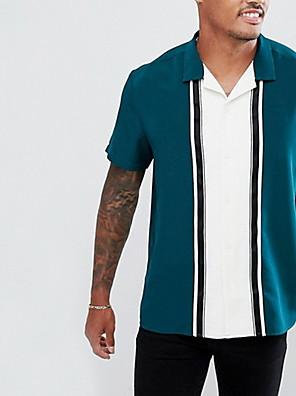 cheap Men's Shirts-Men's Striped Shirt Sports Blue / Short Sleeve