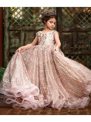 cheap Flower Girl Dresses-Ball Gown Sweep / Brush Train Wedding Flower Girl Dresses - Tulle Sleeveless Jewel Neck with Pick Up Skirt / Bow(s) / Solid