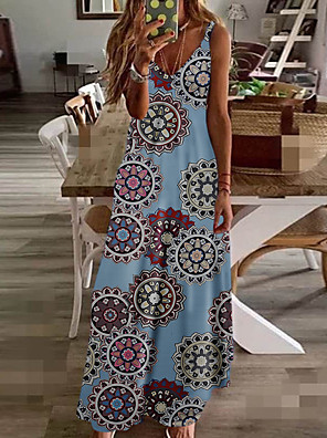 cheap Print Dresses-Women's Maxi Sheath Dress - Sleeveless Geometric Print Strap Boho Daily Black Blue Yellow Rainbow S M L XL XXL XXXL XXXXL XXXXXL
