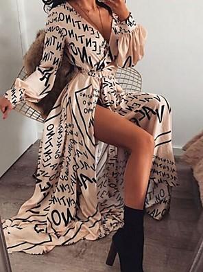 cheap Summer Dresses-Women's Maxi Swing Dress - Long Sleeve Letter Deep V Light Brown S M L XL