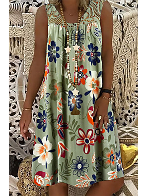 cheap Print Dresses-Women's Plus Size Shift Dress Knee Length Dress - Sleeveless Floral Lace Print Summer Mumu Vacation Beach 2020 White Army Green Fuchsia M L XL XXL XXXL XXXXL XXXXXL