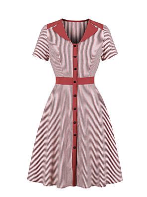 cheap Women's Blouses & Shirts-Women's A Line Dress - Short Sleeves Striped V Neck Wine Blue Green S M L XL XXL