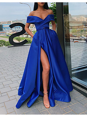 cheap Prom Dresses-Ball Gown Minimalist Sexy Party Wear Prom Dress Off Shoulder Short Sleeve Sweep / Brush Train Satin with Sash / Ribbon Pleats Split 2020