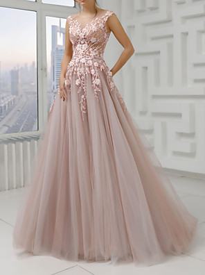 cheap Prom Dresses-A-Line Floral Pink Engagement Prom Dress Illusion Neck Sleeveless Sweep / Brush Train Polyester with Pleats Appliques 2020