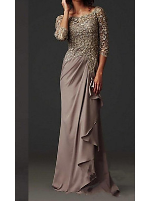 cheap Mother of the Bride Dresses-Sheath / Column Mother of the Bride Dress Elegant Bateau Neck Floor Length Chiffon Lace 3/4 Length Sleeve with Lace 2020