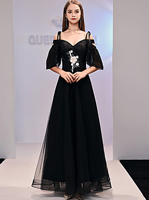 cheap Evening Dresses-A-Line Floral Engagement Formal Evening Dress Sweetheart Neckline Half Sleeve Floor Length Tulle with Lace Insert Appliques 2020