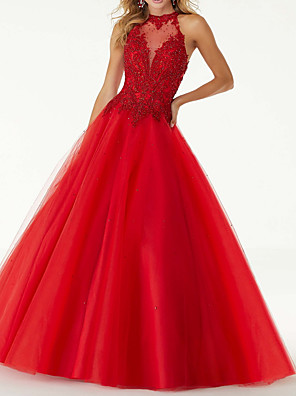 cheap Evening Dresses-Ball Gown Sexy Red Engagement Prom Dress Halter Neck Sleeveless Floor Length Tulle with Beading 2020