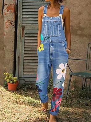 povoljno Ženski jednodijelni kostimi-Žene Plava Sive boje Svjetloplav Jumpsuits Onesie, Geometrijski oblici S M L