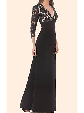 cheap Evening Dresses-Sheath / Column Minimalist Black Party Wear Formal Evening Dress V Neck 3/4 Length Sleeve Floor Length Chiffon Lace with Lace Insert 2020