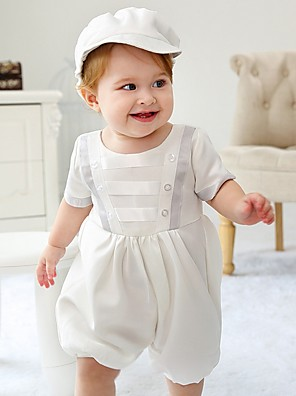 cheap Christening Gowns-Pantsuit / Jumpsuit Medium Length First Communion Christening Gowns - Polyester Short Sleeve Jewel Neck with Pleats