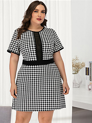 cheap Plus Size Dresses-Women's Plus Size Black & White A Line Dress - Short Sleeves Check Mesh Patchwork Sexy Street chic Daily Going out Belt Not Included Black L XL XXL XXXL XXXXL