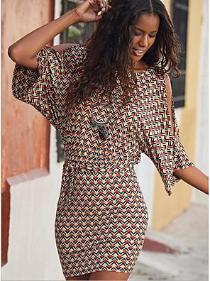 cheap Casual Dresses-Women's Bodycon Dress - Half Sleeve Geometric Loose Blue Red S M L XL XXL