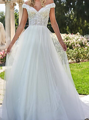 cheap Wedding Dresses-A-Line Wedding Dresses Off Shoulder Sweep / Brush Train Lace Tulle Cap Sleeve Country Plus Size with Lace Embroidery 2020