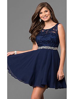 cheap Prom Dresses-A-Line Elegant Flirty Homecoming Cocktail Party Dress Jewel Neck Sleeveless Short / Mini Chiffon Lace with Crystals 2020