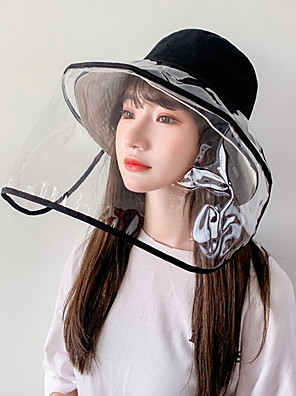 cheap Protective Hats-Women's Basic Polyester Full-face Protective Hat /Summer Outdoor Gardening / Foldable / Beach / Sunscreen Sun Hat Big Brim Cap