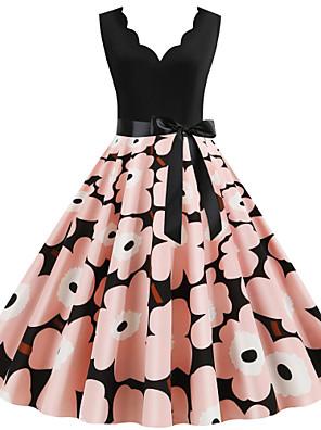 cheap Vintage Dresses-Women's Sheath Dress - Sleeveless Floral Print Print Deep V Street chic Daily Going out Black S M L XL XXL XXXL