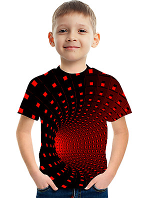 cheap Boys' Tops-Kids Boys' Active Street chic Color Block 3D Print Short Sleeve Tee Red