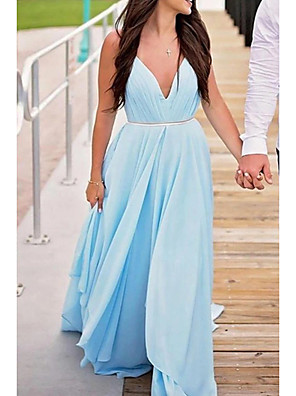 cheap Prom Dresses-A-Line Minimalist Blue Engagement Prom Dress V Neck Sleeveless Court Train Chiffon with Pleats 2020