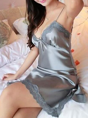 cheap Sexy Lingerie-Women's Lace Super Sexy Satin & Silk / Suits Nightwear Solid Colored Red Gray Purple S M L / Deep V