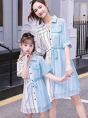 cheap Girls' Dresses-Mommy and Me Basic Sweet Striped Color Block Patchwork Half Sleeve Midi Dress Light Blue