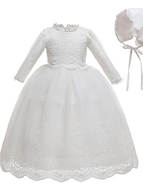 cheap Christening Gowns-Ball Gown Floor Length First Communion Christening Gowns - Polyester Long Sleeve Jewel Neck with Lace / Bow(s)