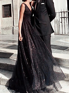 cheap Prom Dresses-A-Line Sparkle Black Party Wear Formal Evening Dress V Neck Sleeveless Floor Length Tulle with Pleats Sequin 2020