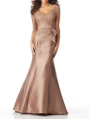 cheap Evening Dresses-Mermaid / Trumpet Mother of the Bride Dress Elegant V Neck Sweep / Brush Train Lace Satin 3/4 Length Sleeve with Sash / Ribbon Bow(s) 2020