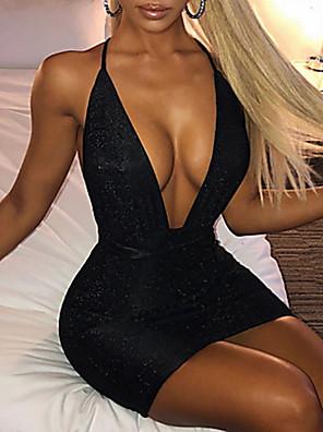 cheap Women's Dresses-Women's Mini Sheath Dress - Sleeveless Solid Color Strap Sexy Slim Black Blushing Pink Beige S M L XL