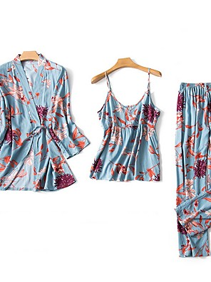 cheap Sexy Bodies-Women's Print Suits Nightwear Floral Blushing Pink Red Blue M L XL