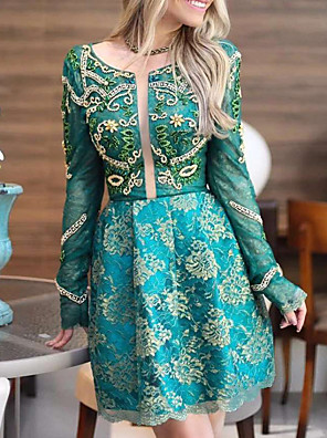 cheap Prom Dresses-A-Line Luxurious Turquoise / Teal Engagement Cocktail Party Dress Jewel Neck Long Sleeve Short / Mini Polyester with Appliques 2020