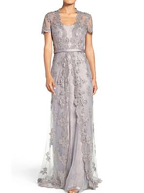 cheap Evening Dresses-Sheath / Column Elegant Luxurious Engagement Formal Evening Dress Scoop Neck Short Sleeve Sweep / Brush Train Chiffon Lace with Sash / Ribbon Lace Insert 2020