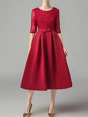 cheap Cocktail Dresses-A-Line Floral Red Engagement Prom Dress Jewel Neck 3/4 Length Sleeve Tea Length Polyester with Sash / Ribbon Lace Insert 2020