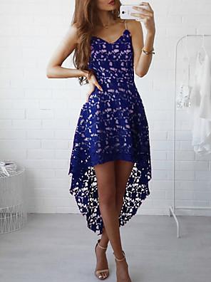 cheap Romantic Lace Dresses-Women's Maxi Sheath Dress - Sleeveless Solid Color V Neck Slim Wine White Black Blue Blushing Pink S M L XL
