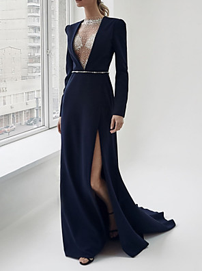 cheap Evening Dresses-Sheath / Column Sexy Blue Engagement Formal Evening Dress V Neck Long Sleeve Sweep / Brush Train Satin with Sash / Ribbon Split 2020