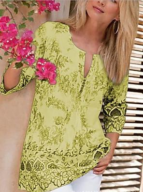 cheap Casual Dresses-Women's Plus Size Geometric Print T-shirt Daily White / Black / Blue / Purple / Yellow