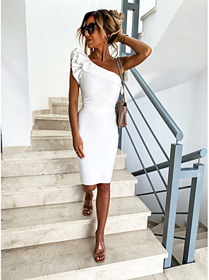 cheap Print Dresses-Women's Bodycon Dress - Sleeveless Solid Color Backless Ruffle One Shoulder Daily Black Beige S M L XL