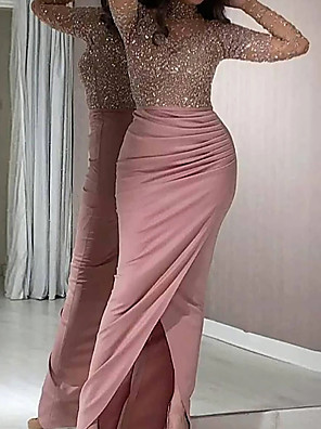 cheap Evening Dresses-Mermaid / Trumpet Cut Out Sexy Wedding Guest Cocktail Party Dress High Neck Long Sleeve Floor Length Stretch Satin with Ruched Split 2020 / Illusion Sleeve