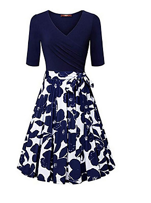 cheap Romantic Lace Dresses-Women's Sheath Dress - Short Sleeves Solid Color V Neck White Blue Red S M L XL XXL