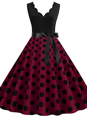 cheap Party Dresses-Women's Sheath Dress - Sleeveless Polka Dot Print Patchwork Print V Neck Sexy Daily Going out Wine White Black Blue Purple Red Yellow Blushing Pink Fuchsia Orange S M L XL XXL XXXL