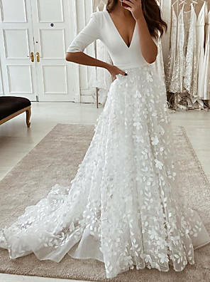 cheap Wedding Dresses-A-Line Wedding Dresses Plunging Neck Sweep / Brush Train Tulle Polyester Half Sleeve Country Plus Size with Embroidery Appliques 2020