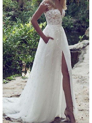 cheap Wedding Dresses-A-Line Wedding Dresses V Wire Sweep / Brush Train Lace Tulle Cap Sleeve Sexy Plus Size with Lace Embroidery Split Front 2020