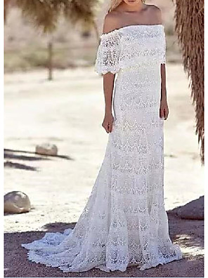 cheap Evening Dresses-Sheath / Column Wedding Dresses Off Shoulder Sweep / Brush Train Lace Half Sleeve Country Plus Size with Lace 2020