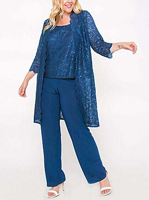 cheap Mother of the Bride Dresses-Pantsuit / Jumpsuit Mother of the Bride Dress Elegant Jewel Neck Floor Length Chiffon Lace 3/4 Length Sleeve with Lace Sequin 2020
