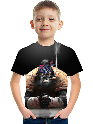 cheap Boys' Tops-Kids Boys' Basic Street chic Orangutan Color Block 3D Animal Print Short Sleeve Tee Rainbow