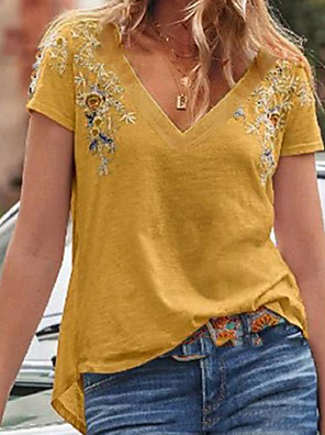 cheap Romantic Lace Dresses-Women's Floral T-shirt Daily V Neck Red / Yellow
