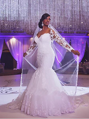 cheap Wedding Dresses-Mermaid / Trumpet Wedding Dresses Scoop Neck Court Train Organza Long Sleeve Sexy Wedding Dress in Color with Appliques 2020