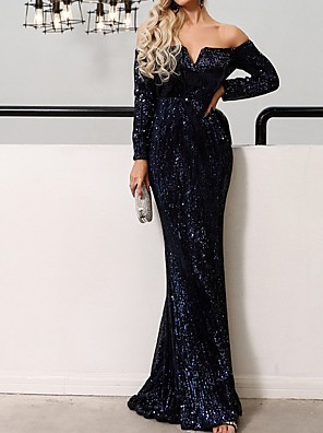 cheap Evening Dresses-Mermaid / Trumpet Sparkle Blue Wedding Guest Prom Dress Off Shoulder Long Sleeve Floor Length Polyester with Sequin 2020