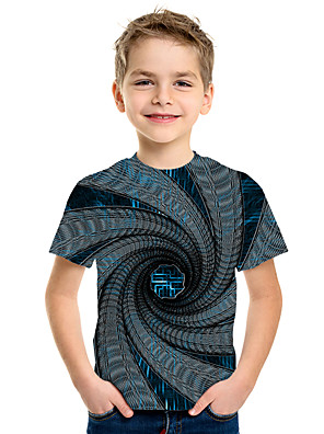 cheap Boys' Tops-Kids Boys' Basic 3D Short Sleeve Tee Rainbow