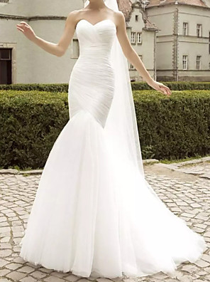 cheap Wedding Dresses-Mermaid / Trumpet Wedding Dresses Sweetheart Neckline Sweep / Brush Train Polyester Strapless Country Plus Size with Ruched Lace Insert 2020